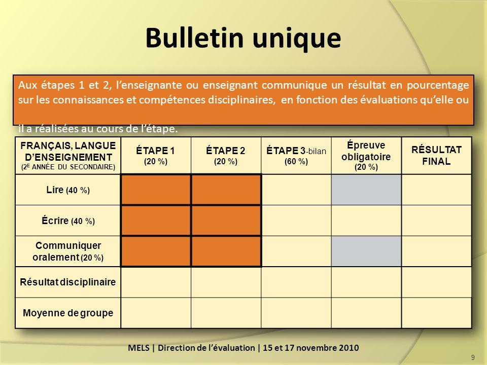 Aux étapes 1 et 2, lenseignante ou enseignant communique un résultat en pourcentage sur les connaissances et compétences disciplinaires, en fonction des évaluations quelle ou il a réalisées au cours de létape.