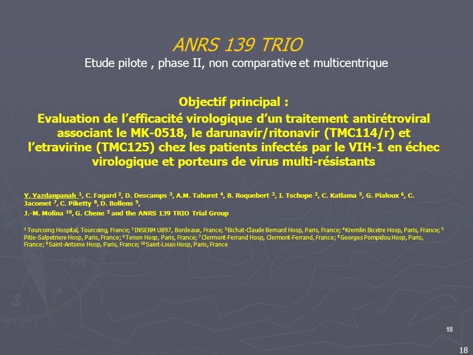 18 ANRS 139 TRIO Etude pilote, phase II, non comparative et multicentrique Objectif principal : Evaluation de lefficacité virologique dun traitement a