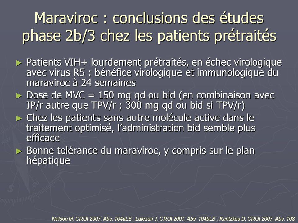 Maraviroc : conclusions des études phase 2b/3 chez les patients prétraités Patients VIH+ lourdement prétraités, en échec virologique avec virus R5 : b
