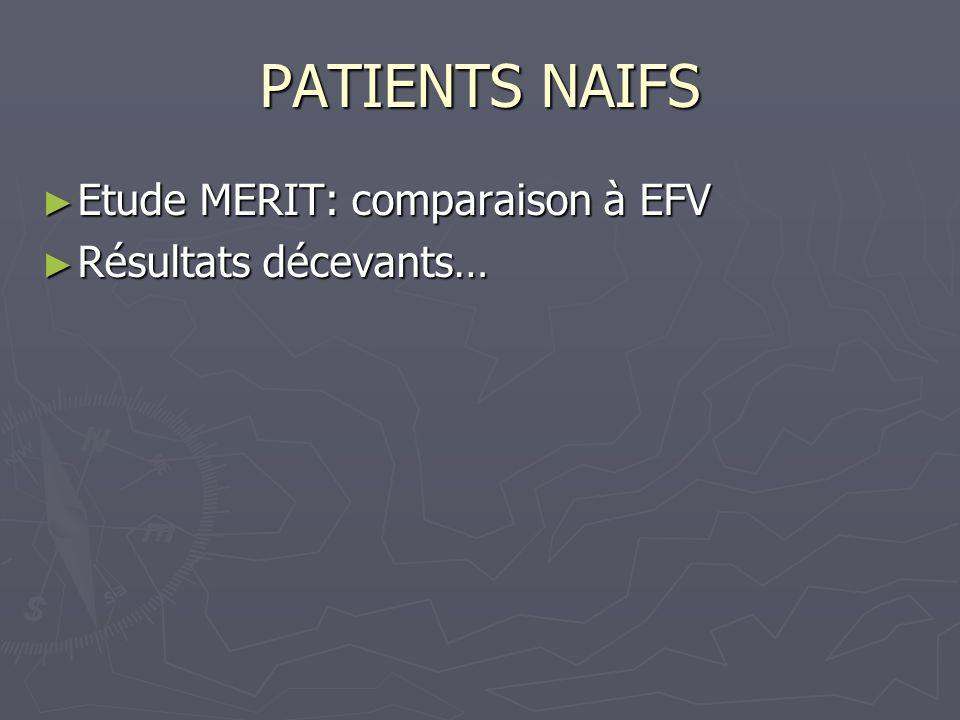 PATIENTS NAIFS Etude MERIT: comparaison à EFV Etude MERIT: comparaison à EFV Résultats décevants… Résultats décevants…