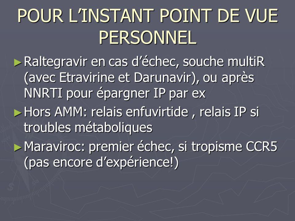 POUR LINSTANT POINT DE VUE PERSONNEL Raltegravir en cas déchec, souche multiR (avec Etravirine et Darunavir), ou après NNRTI pour épargner IP par ex R