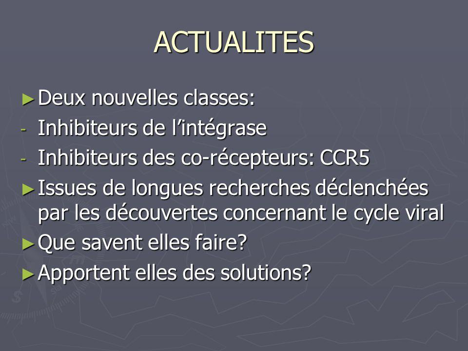ACTUALITES Deux nouvelles classes: Deux nouvelles classes: - Inhibiteurs de lintégrase - Inhibiteurs des co-récepteurs: CCR5 Issues de longues recherc