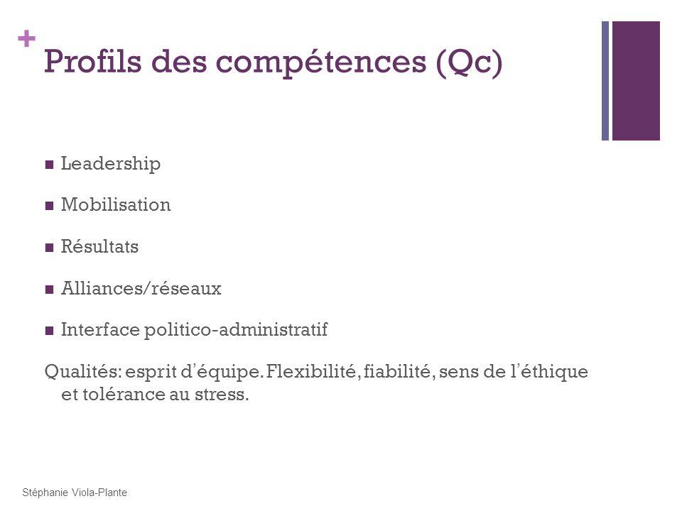 + Profils des compétences (Qc) Leadership Mobilisation Résultats Alliances/réseaux Interface politico-administratif Qualités: esprit d équipe. Flexibi