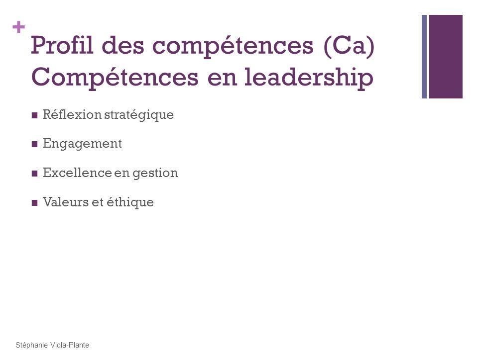 + Profil des compétences (Ca) Compétences en leadership Réflexion stratégique Engagement Excellence en gestion Valeurs et éthique Stéphanie Viola-Plan