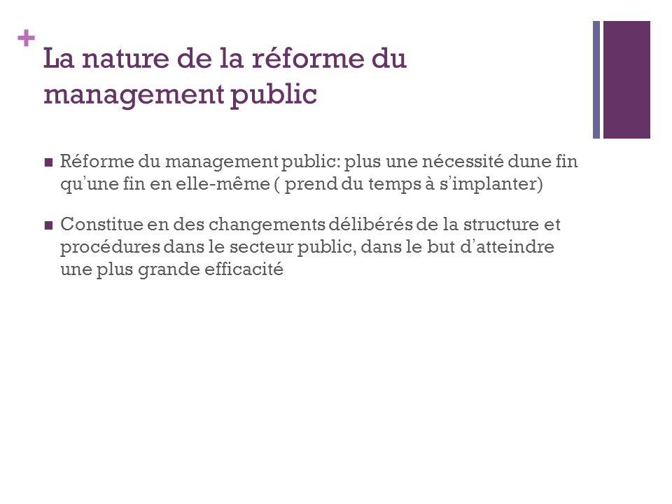 + La nature de la réforme du management public Réforme du management public: plus une nécessité dune fin qu une fin en elle-même ( prend du temps à s implanter) Constitue en des changements délibérés de la structure et procédures dans le secteur public, dans le but d atteindre une plus grande efficacité