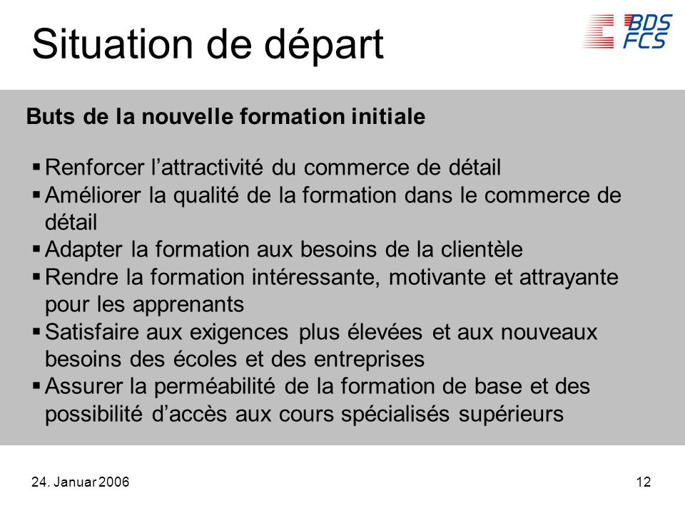 24. Januar 200612 Situation de départ Renforcer lattractivité du commerce de détail Améliorer la qualité de la formation dans le commerce de détail Ad