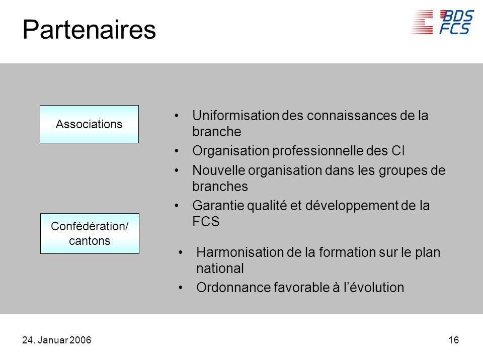 24. Januar 200616 Partenaires Uniformisation des connaissances de la branche Organisation professionnelle des CI Nouvelle organisation dans les groupe