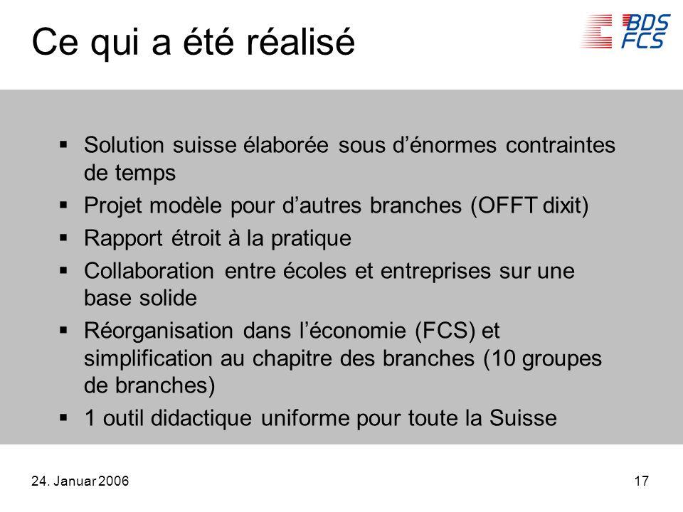 24. Januar 200617 Ce qui a été réalisé Solution suisse élaborée sous dénormes contraintes de temps Projet modèle pour dautres branches (OFFT dixit) Ra