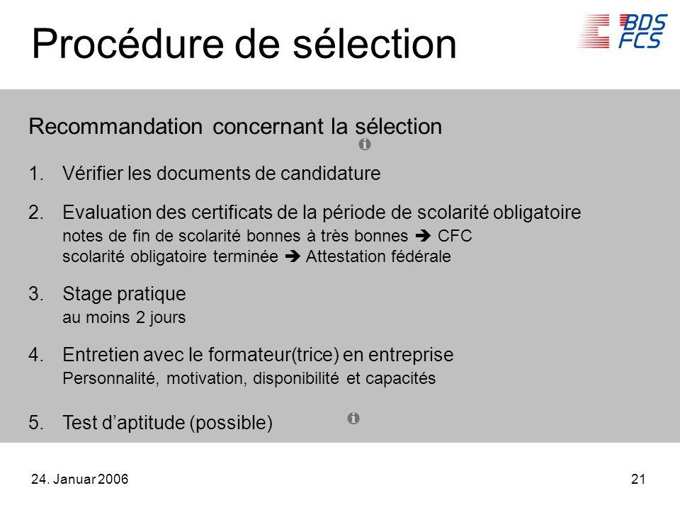 24. Januar 200621 Procédure de sélection Recommandation concernant la sélection 1.Vérifier les documents de candidature 2.Evaluation des certificats d