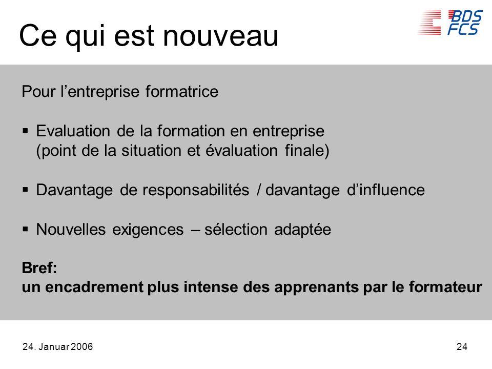 24. Januar 200624 Ce qui est nouveau Pour lentreprise formatrice Evaluation de la formation en entreprise (point de la situation et évaluation finale)