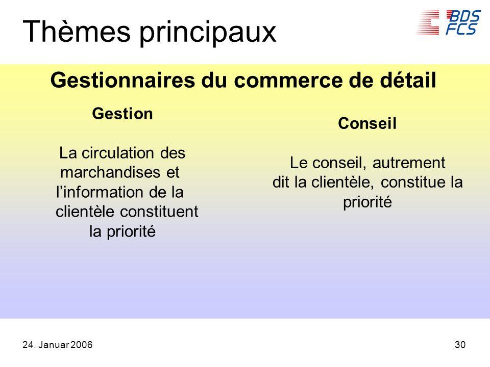 24. Januar 200630 Thèmes principaux Gestion La circulation des marchandises et linformation de la clientèle constituent la priorité Conseil Le conseil
