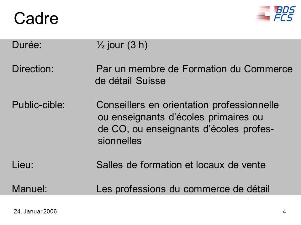 24. Januar 20064 Cadre Durée:½ jour (3 h) Direction:Par un membre de Formation du Commerce de détail Suisse Public-cible:Conseillers en orientation pr