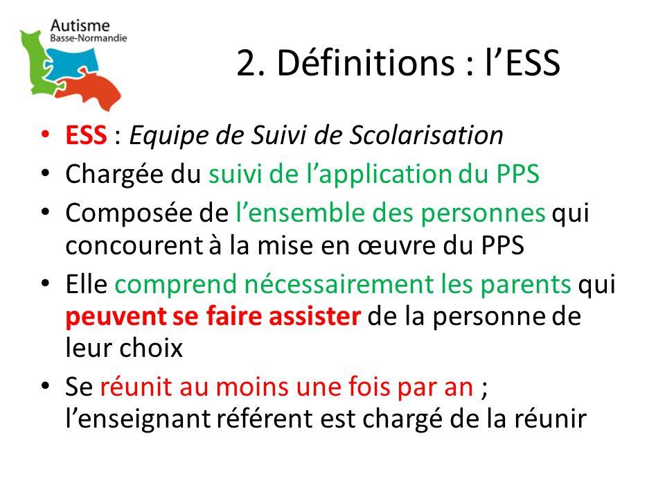2. Définitions : lESS ESS : Equipe de Suivi de Scolarisation Chargée du suivi de lapplication du PPS Composée de lensemble des personnes qui concouren