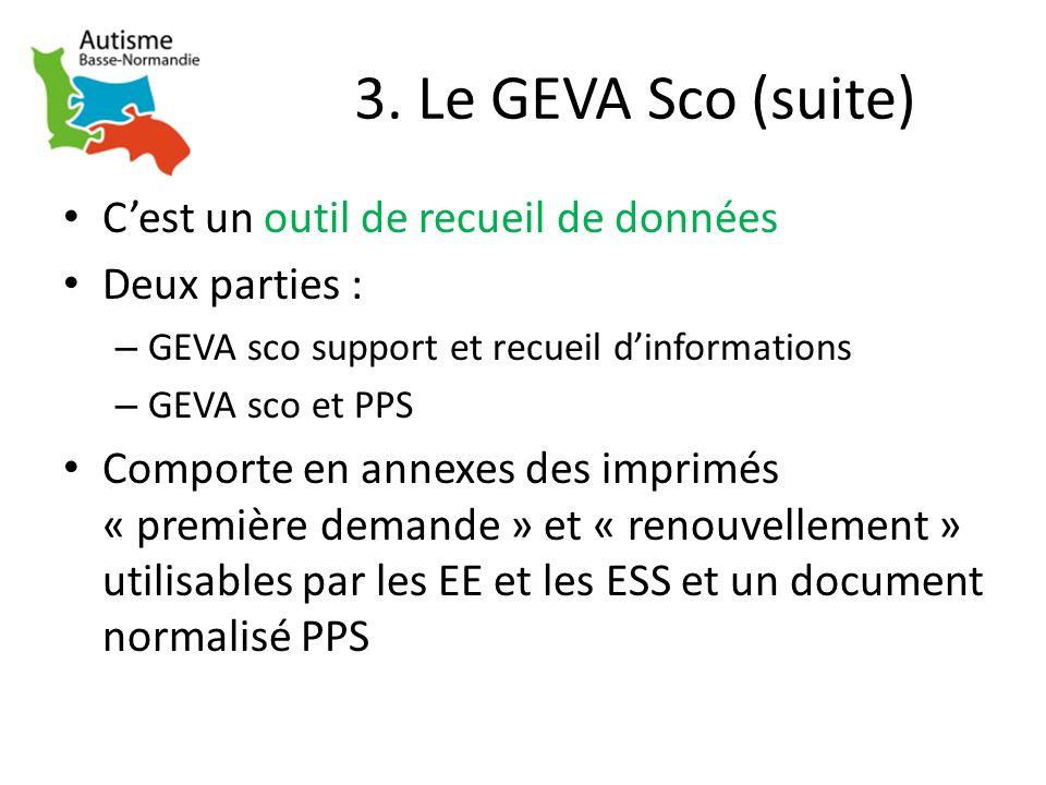3. Le GEVA Sco (suite) Cest un outil de recueil de données Deux parties : – GEVA sco support et recueil dinformations – GEVA sco et PPS Comporte en an