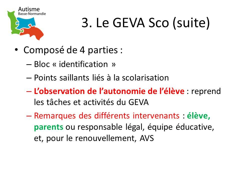 3. Le GEVA Sco (suite) Composé de 4 parties : – Bloc « identification » – Points saillants liés à la scolarisation – Lobservation de lautonomie de lél
