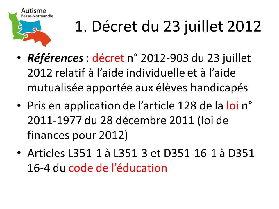 1. Décret du 23 juillet 2012 Références : décret n° 2012-903 du 23 juillet 2012 relatif à laide individuelle et à laide mutualisée apportée aux élèves