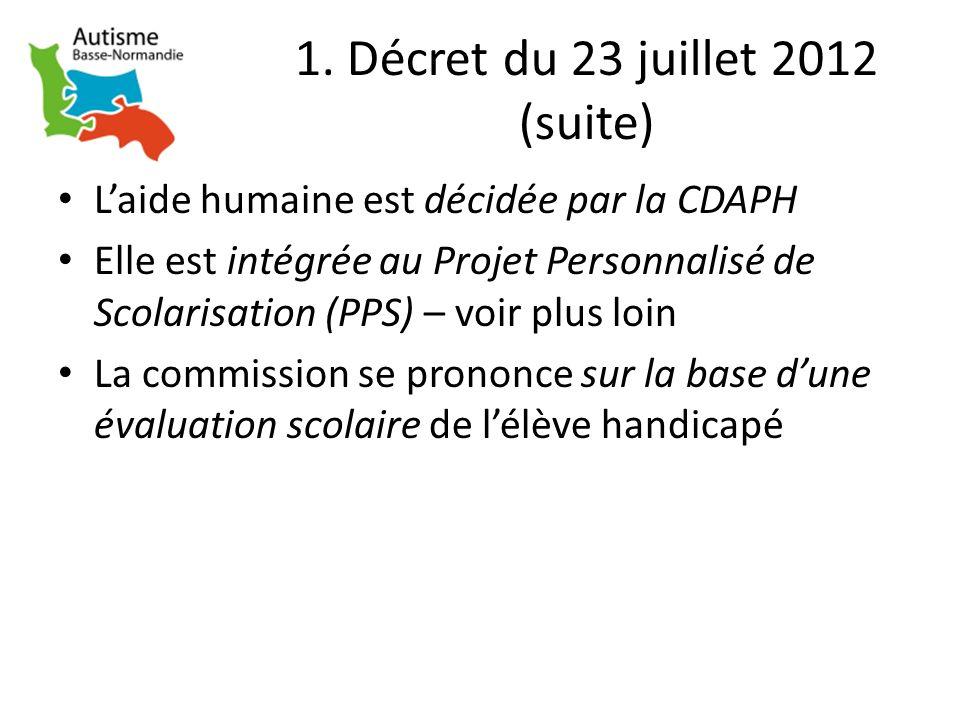 1. Décret du 23 juillet 2012 (suite) Laide humaine est décidée par la CDAPH Elle est intégrée au Projet Personnalisé de Scolarisation (PPS) – voir plu