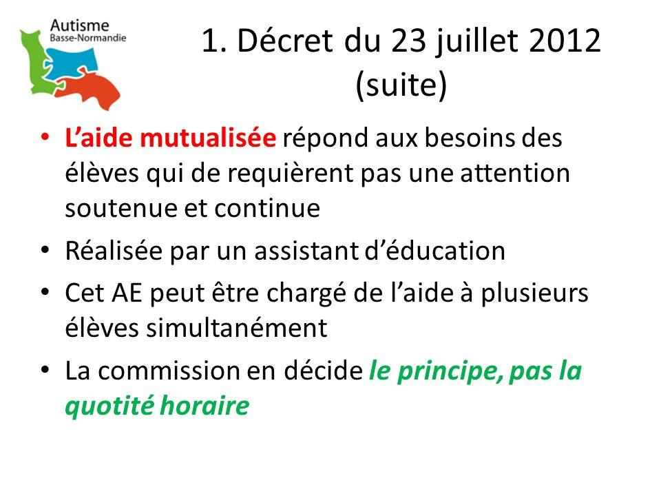 1. Décret du 23 juillet 2012 (suite) Laide mutualisée répond aux besoins des élèves qui de requièrent pas une attention soutenue et continue Réalisée