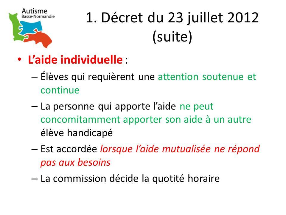 1. Décret du 23 juillet 2012 (suite) Laide individuelle : – Élèves qui requièrent une attention soutenue et continue – La personne qui apporte laide n