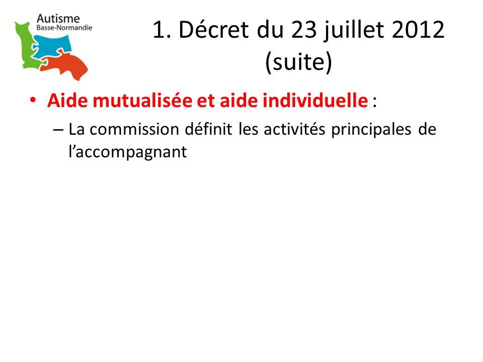 1. Décret du 23 juillet 2012 (suite) Aide mutualisée et aide individuelle : – La commission définit les activités principales de laccompagnant