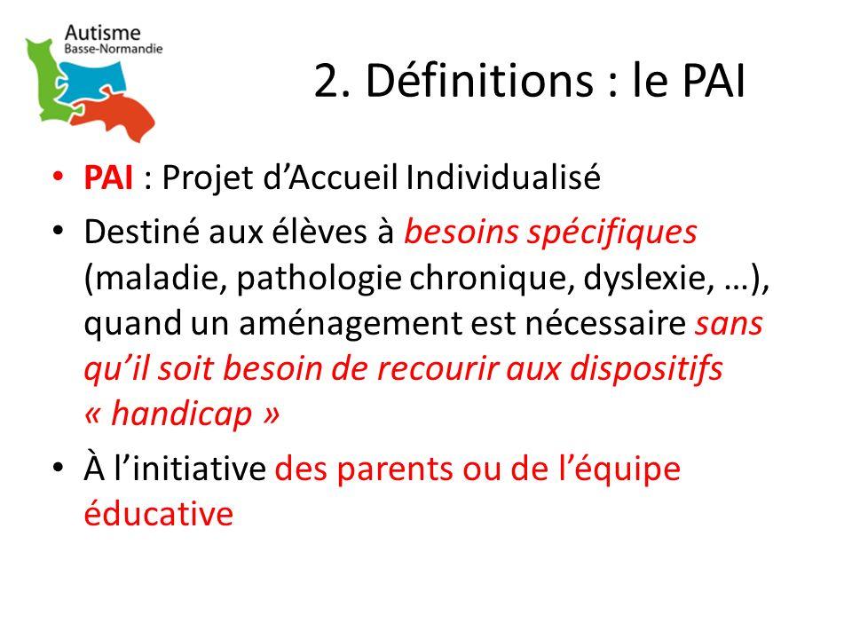 2. Définitions : le PAI PAI : Projet dAccueil Individualisé Destiné aux élèves à besoins spécifiques (maladie, pathologie chronique, dyslexie, …), qua