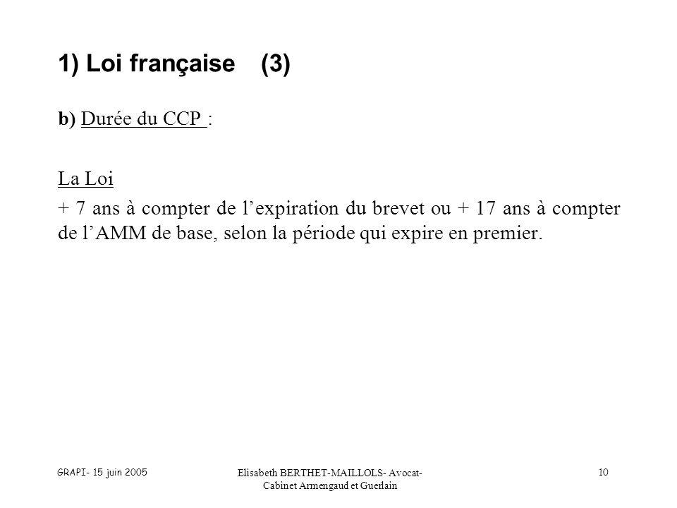 GRAPI- 15 juin 2005 Elisabeth BERTHET-MAILLOLS- Avocat- Cabinet Armengaud et Guerlain 10 1) Loi française(3) b) Durée du CCP : La Loi + 7 ans à compter de lexpiration du brevet ou + 17 ans à compter de lAMM de base, selon la période qui expire en premier.