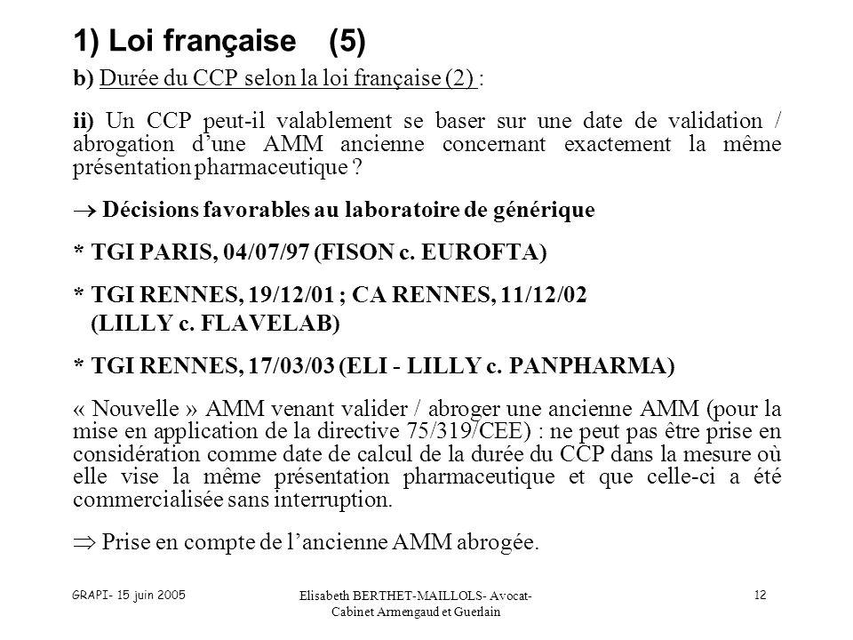GRAPI- 15 juin 2005 Elisabeth BERTHET-MAILLOLS- Avocat- Cabinet Armengaud et Guerlain 12 1) Loi française(5) b) Durée du CCP selon la loi française (2) : ii) Un CCP peut-il valablement se baser sur une date de validation / abrogation dune AMM ancienne concernant exactement la même présentation pharmaceutique .
