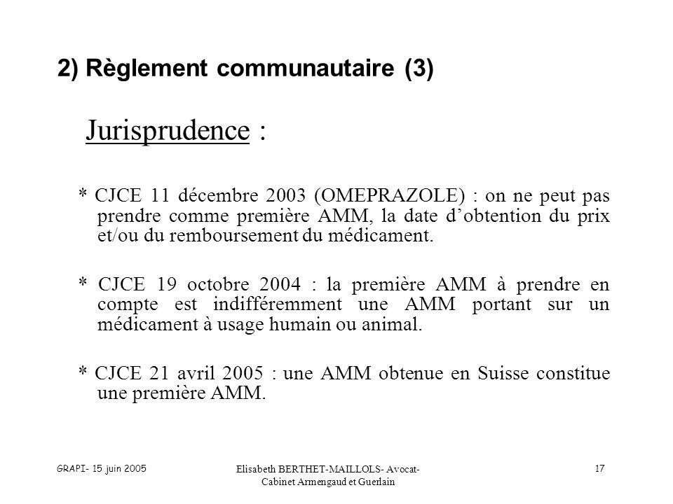 GRAPI- 15 juin 2005 Elisabeth BERTHET-MAILLOLS- Avocat- Cabinet Armengaud et Guerlain 17 2) Règlement communautaire (3) Jurisprudence : * CJCE 11 déce