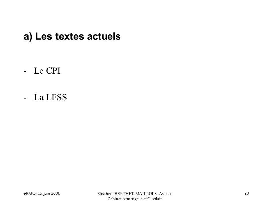 GRAPI- 15 juin 2005 Elisabeth BERTHET-MAILLOLS- Avocat- Cabinet Armengaud et Guerlain 20 a) Les textes actuels -Le CPI -La LFSS