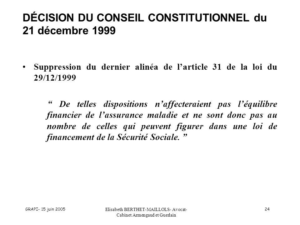 GRAPI- 15 juin 2005 Elisabeth BERTHET-MAILLOLS- Avocat- Cabinet Armengaud et Guerlain 24 DÉCISION DU CONSEIL CONSTITUTIONNEL du 21 décembre 1999 Suppr