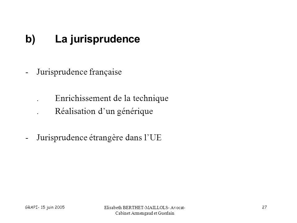 GRAPI- 15 juin 2005 Elisabeth BERTHET-MAILLOLS- Avocat- Cabinet Armengaud et Guerlain 27 b)La jurisprudence -Jurisprudence française.Enrichissement de