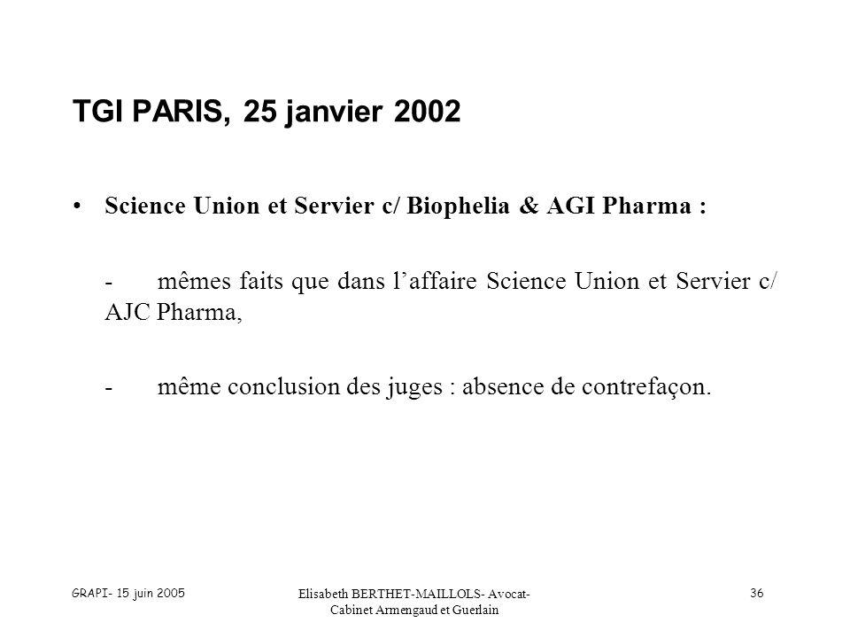 GRAPI- 15 juin 2005 Elisabeth BERTHET-MAILLOLS- Avocat- Cabinet Armengaud et Guerlain 36 TGI PARIS, 25 janvier 2002 Science Union et Servier c/ Biophe