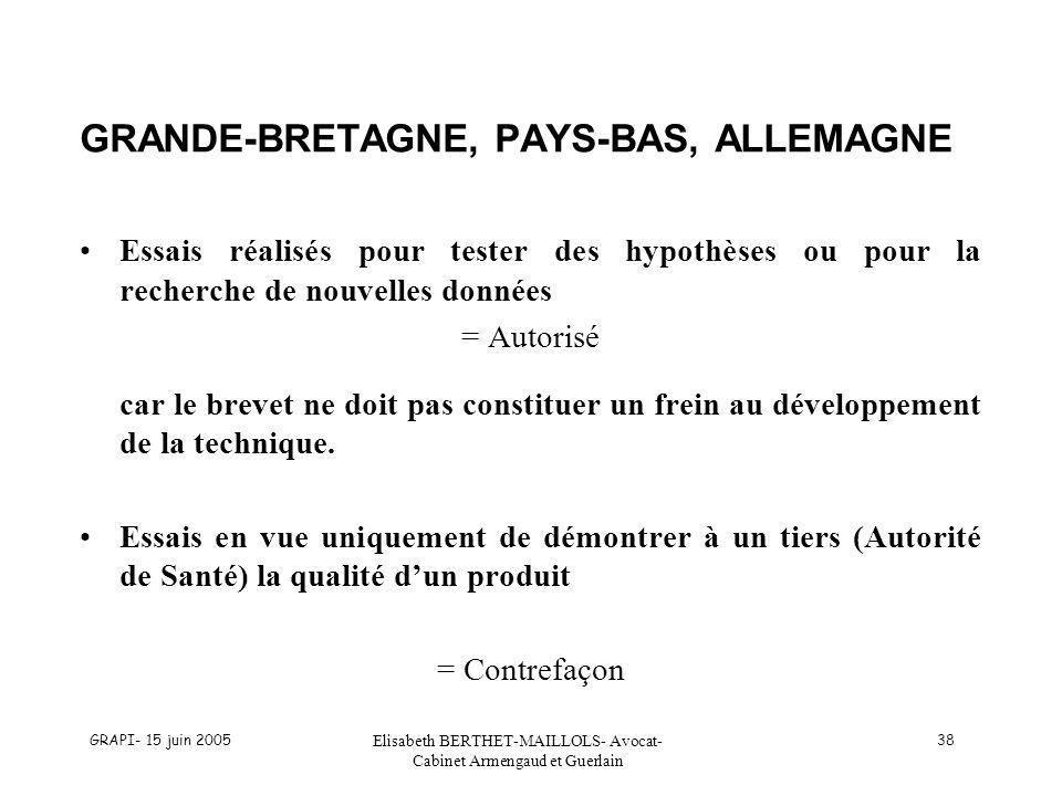 GRAPI- 15 juin 2005 Elisabeth BERTHET-MAILLOLS- Avocat- Cabinet Armengaud et Guerlain 38 GRANDE-BRETAGNE, PAYS-BAS, ALLEMAGNE Essais réalisés pour tes