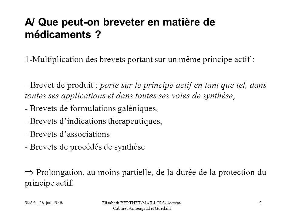 GRAPI- 15 juin 2005 Elisabeth BERTHET-MAILLOLS- Avocat- Cabinet Armengaud et Guerlain 85 CONCLUSION Les nouvelles règles favorables aux génériques Françaises Inscription au répertoire sans prise en compte des droits de brevet attachés au princeps.