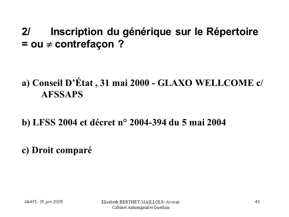 GRAPI- 15 juin 2005 Elisabeth BERTHET-MAILLOLS- Avocat- Cabinet Armengaud et Guerlain 43 2/Inscription du générique sur le Répertoire = ou contrefaçon
