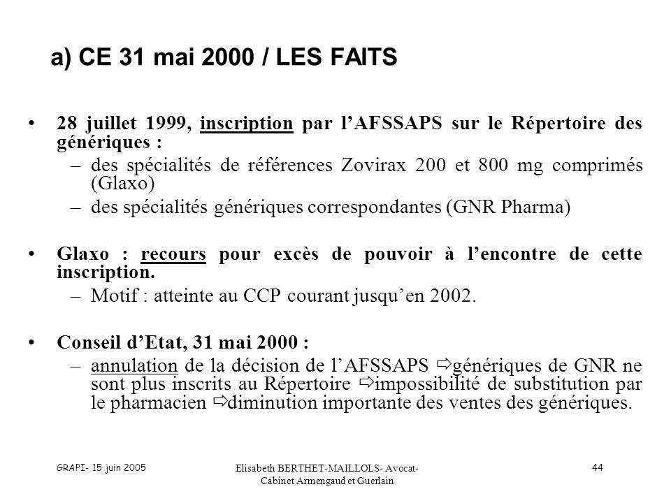 GRAPI- 15 juin 2005 Elisabeth BERTHET-MAILLOLS- Avocat- Cabinet Armengaud et Guerlain 44 a) CE 31 mai 2000 / LES FAITS 28 juillet 1999, inscription pa