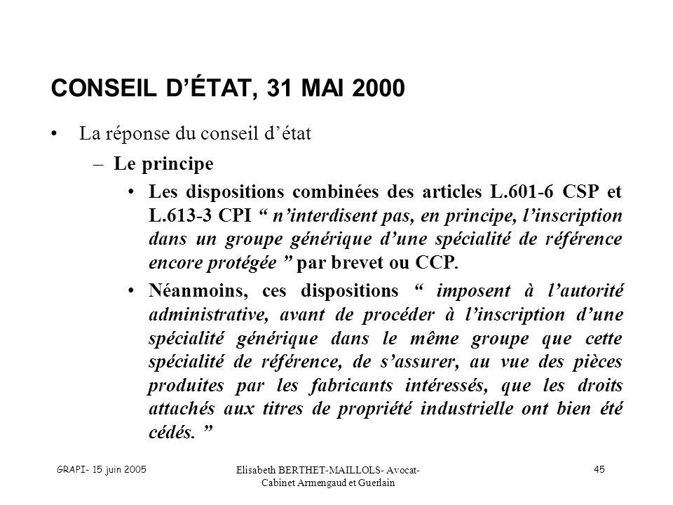 GRAPI- 15 juin 2005 Elisabeth BERTHET-MAILLOLS- Avocat- Cabinet Armengaud et Guerlain 45 CONSEIL DÉTAT, 31 MAI 2000 La réponse du conseil détat –Le principe Les dispositions combinées des articles L.601-6 CSP et L.613-3 CPI ninterdisent pas, en principe, linscription dans un groupe générique dune spécialité de référence encore protégée par brevet ou CCP.