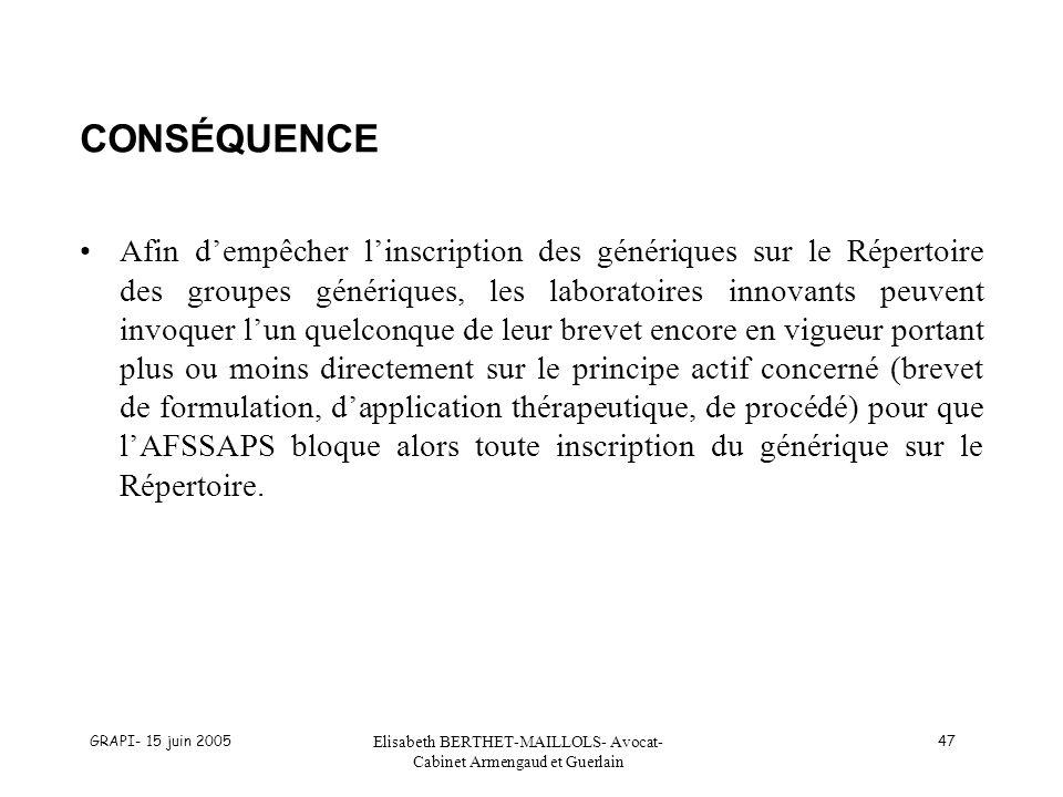 GRAPI- 15 juin 2005 Elisabeth BERTHET-MAILLOLS- Avocat- Cabinet Armengaud et Guerlain 47 CONSÉQUENCE Afin dempêcher linscription des génériques sur le