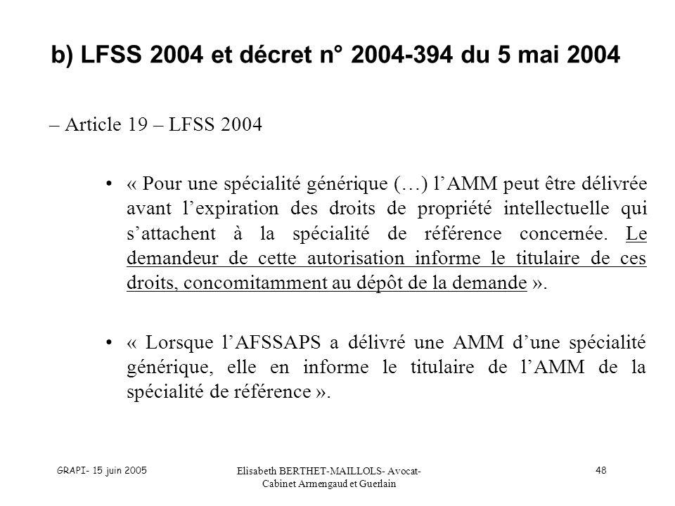 GRAPI- 15 juin 2005 Elisabeth BERTHET-MAILLOLS- Avocat- Cabinet Armengaud et Guerlain 48 b) LFSS 2004 et décret n° 2004-394 du 5 mai 2004 – Article 19