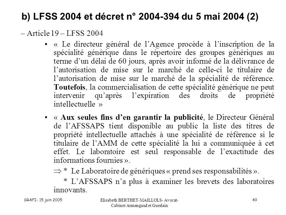 GRAPI- 15 juin 2005 Elisabeth BERTHET-MAILLOLS- Avocat- Cabinet Armengaud et Guerlain 49 b) LFSS 2004 et décret n° 2004-394 du 5 mai 2004 (2) – Articl