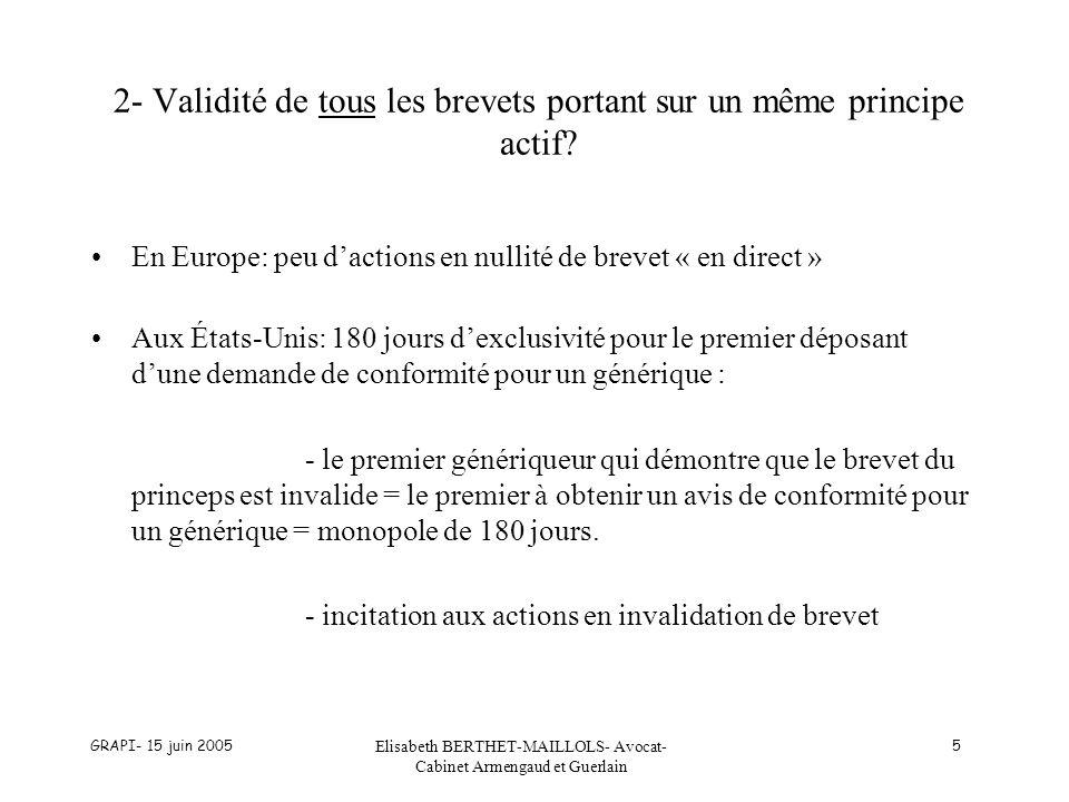 GRAPI- 15 juin 2005 Elisabeth BERTHET-MAILLOLS- Avocat- Cabinet Armengaud et Guerlain 16 2) Règlement communautaire (2) b) Durée du CCP : + 15 ans à compter de la première AMM obtenue dans la Communauté pour le principe actif en question avec un maximum de 5 ans après lexpiration du brevet.