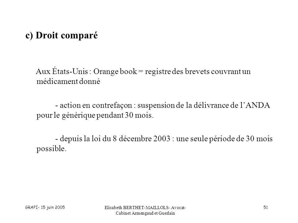 GRAPI- 15 juin 2005 Elisabeth BERTHET-MAILLOLS- Avocat- Cabinet Armengaud et Guerlain 51 c) Droit comparé Aux États-Unis : Orange book = registre des
