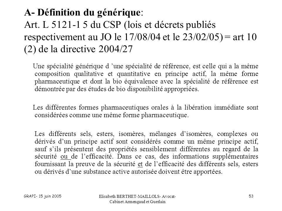 GRAPI- 15 juin 2005 Elisabeth BERTHET-MAILLOLS- Avocat- Cabinet Armengaud et Guerlain 53 A- Définition du générique: Art. L 5121-1 5 du CSP (lois et d