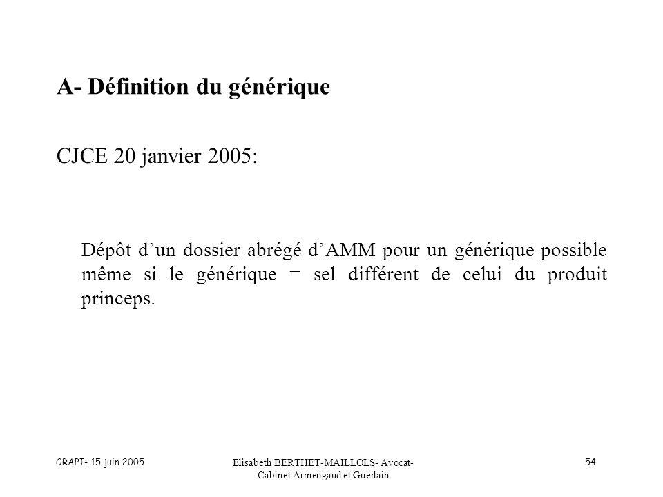 GRAPI- 15 juin 2005 Elisabeth BERTHET-MAILLOLS- Avocat- Cabinet Armengaud et Guerlain 54 A- Définition du générique CJCE 20 janvier 2005: Dépôt dun do