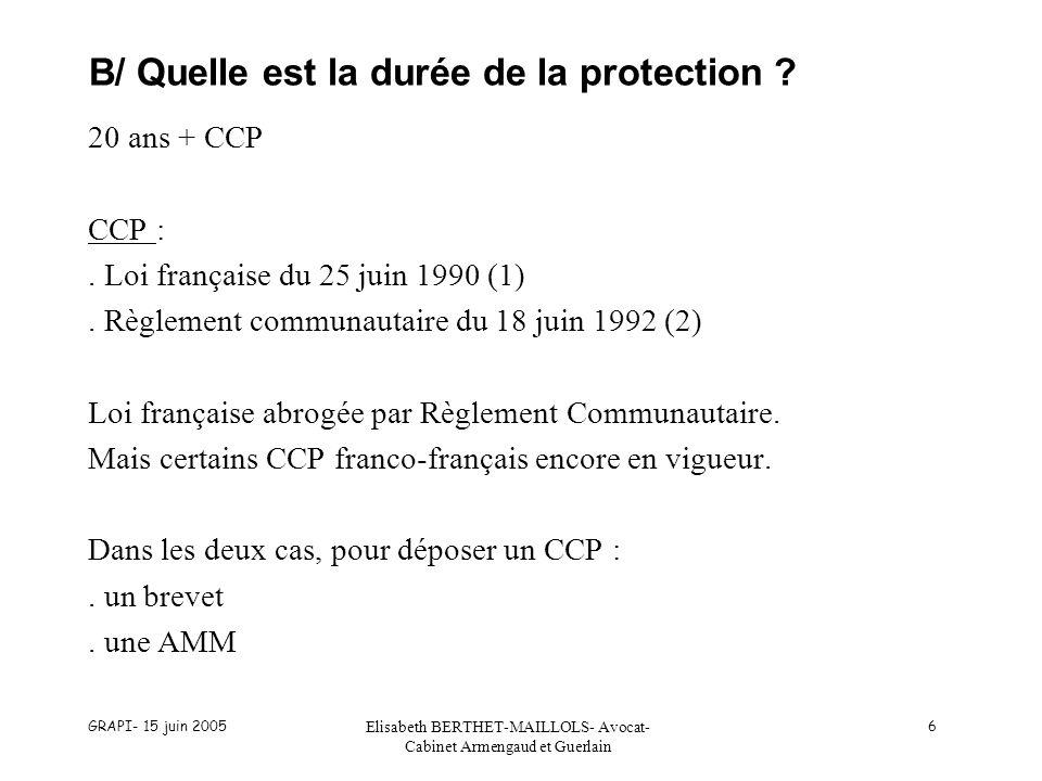 GRAPI- 15 juin 2005 Elisabeth BERTHET-MAILLOLS- Avocat- Cabinet Armengaud et Guerlain 6 B/ Quelle est la durée de la protection ? 20 ans + CCP CCP :.