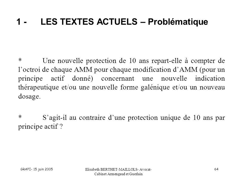 GRAPI- 15 juin 2005 Elisabeth BERTHET-MAILLOLS- Avocat- Cabinet Armengaud et Guerlain 64 1 -LES TEXTES ACTUELS – Problématique *Une nouvelle protectio