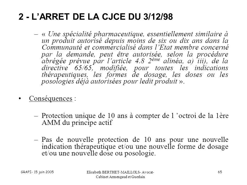 GRAPI- 15 juin 2005 Elisabeth BERTHET-MAILLOLS- Avocat- Cabinet Armengaud et Guerlain 65 –« Une spécialité pharmaceutique, essentiellement similaire à un produit autorisé depuis moins de six ou dix ans dans la Communauté et commercialisé dans lEtat membre concerné par la demande, peut être autorisée, selon la procédure abrégée prévue par larticle 4.8 2 ème alinéa, a) iii), de la directive 65/65, modifiée, pour toutes les indications thérapeutiques, les formes de dosage, les doses ou les posologies déjà autorisées pour ledit produit ».