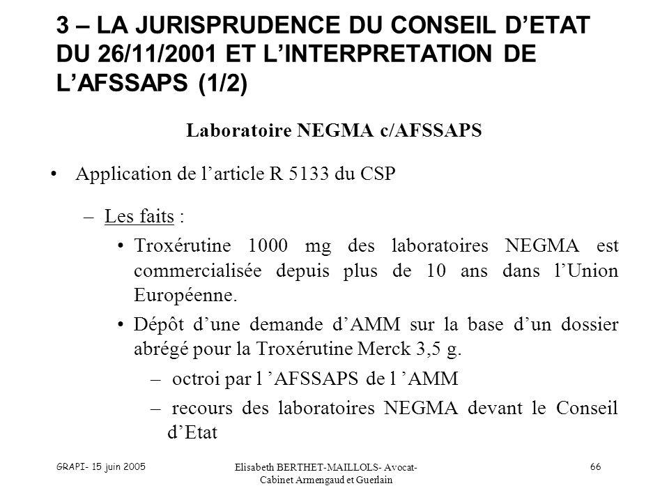 GRAPI- 15 juin 2005 Elisabeth BERTHET-MAILLOLS- Avocat- Cabinet Armengaud et Guerlain 66 3 – LA JURISPRUDENCE DU CONSEIL DETAT DU 26/11/2001 ET LINTERPRETATION DE LAFSSAPS (1/2) Laboratoire NEGMA c/AFSSAPS Application de larticle R 5133 du CSP –Les faits : Troxérutine 1000 mg des laboratoires NEGMA est commercialisée depuis plus de 10 ans dans lUnion Européenne.