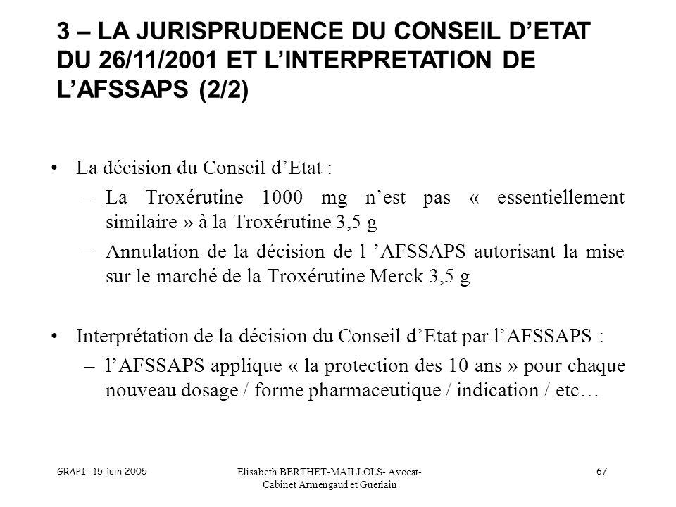 GRAPI- 15 juin 2005 Elisabeth BERTHET-MAILLOLS- Avocat- Cabinet Armengaud et Guerlain 67 La décision du Conseil dEtat : –La Troxérutine 1000 mg nest pas « essentiellement similaire » à la Troxérutine 3,5 g –Annulation de la décision de l AFSSAPS autorisant la mise sur le marché de la Troxérutine Merck 3,5 g Interprétation de la décision du Conseil dEtat par lAFSSAPS : –lAFSSAPS applique « la protection des 10 ans » pour chaque nouveau dosage / forme pharmaceutique / indication / etc… 3 – LA JURISPRUDENCE DU CONSEIL DETAT DU 26/11/2001 ET LINTERPRETATION DE LAFSSAPS (2/2)