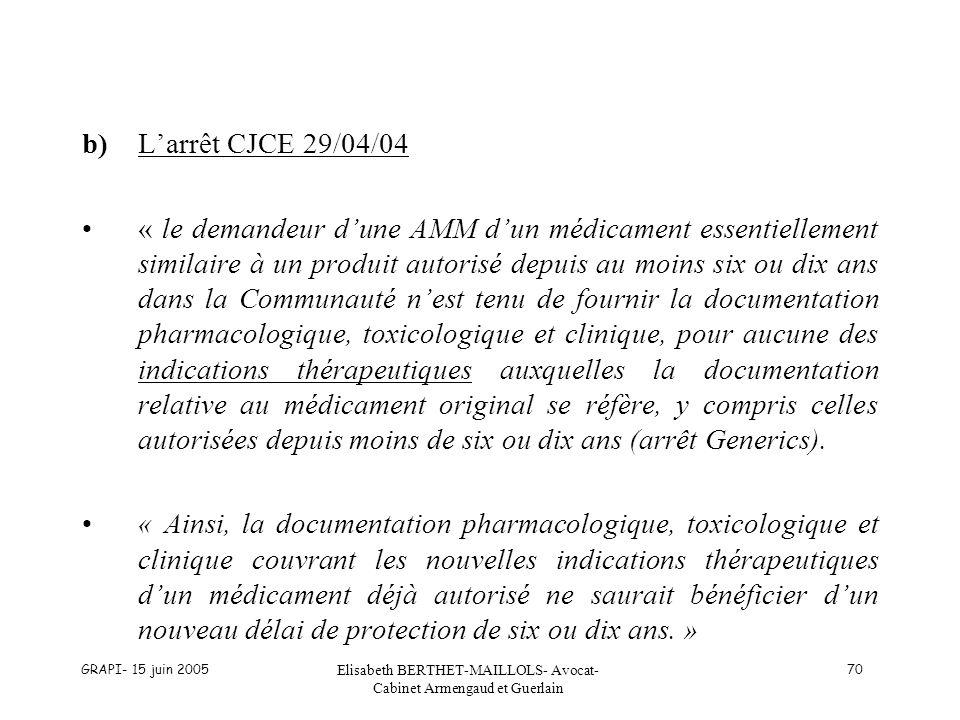 GRAPI- 15 juin 2005 Elisabeth BERTHET-MAILLOLS- Avocat- Cabinet Armengaud et Guerlain 70 b)Larrêt CJCE 29/04/04 « le demandeur dune AMM dun médicament